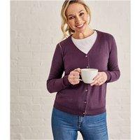 Womens Silk and Cotton Soft Feel V Neck Cardigan XL Aubergine