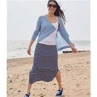 Womens Maxi Skirt M Navy/White