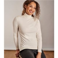 Womens Slim Polo Neck Top XL Cream