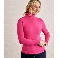Womens Slim Polo Neck Top XL Fuchsia Pink