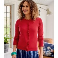 Womens Cotton and Cashmere Blend Frill Placket Cardigan XS Lipstick Red