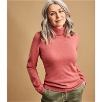 Womens Cashmere and Merino Fitted Polo Neck Knitted Jumper XL Raspberry Rose