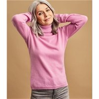 Womens Cashmere and Merino Fitted Polo Neck Knitted Jumper XS Pale Rose