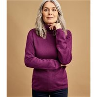 Womens Cashmere and Merino Fitted Polo Neck Knitted Jumper XS Boysenberry