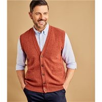 Mens Lambswool Knitted Waistcoat M Rustic Orange