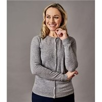 Womens Pure Cashmere Crew Neck Cardigan XL Luxe Grey