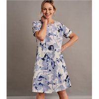 Womens Linen Printed Tunic Dress L Abstract Floral