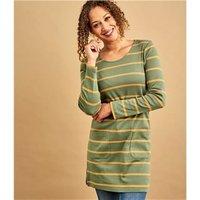 Womens Pure Cotton A Line Tunic XL Green/Yellow Stripe