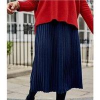 Womens Cotton Blend Pleat Skirt XS Navy