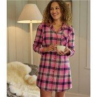 Womens Cotton Woven Pyjama Check Long Night Shirt L Pink Check