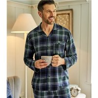 Mens Cotton Woven Check Pyjama Shirt S Navy Check