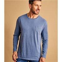 Mens Organic Cotton Long Sleeve T-Shirt L Mid Blue