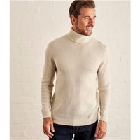 Mens Lambswool Polo neck Jumper XXL Cream