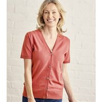 Womens Silk and Cotton Short Sleeved V-Neck Cardigan XL Warm Coral