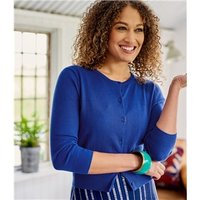 Womens Silk and Cotton 3/4 Sleeve Crop Cardigan S Imperial Blue