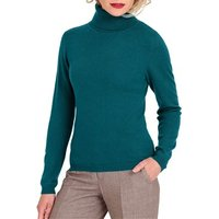 Womens Cashmere and Merino Fitted Polo Neck Knitted Jumper XL Dark Turquoise