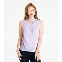 Womens Linen and Cotton Sleeveless Shirt L Lavender