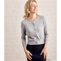Womens Silk and Cotton 3/4 Sleeve Crop Cardigan XL Grey Marl