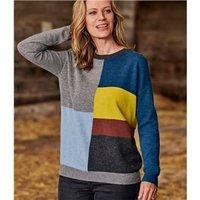 Womens 100% Merino Wool Multi Colour Block Jumper S Multi