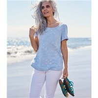 Womens Cotton Floral Embroidered T-Shirt M Chambray/White