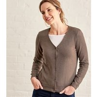 Womens Silk and Cotton Soft Feel V Neck Cardigan XS Brown Marl