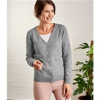 Womens Cashmere and Merino Luxurious V Neck Cardigan S Flannel Grey