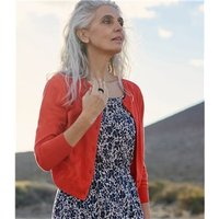 Womens Silk and Cotton 3/4 Sleeve Crop Cardigan XL Rich Coral