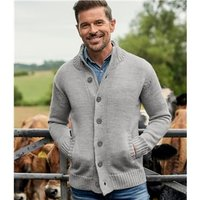 Mens Pure Wool Button Everyday Cardigan XXL Flannel Grey