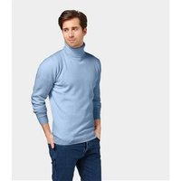 Mens Lambswool Polo neck Jumper M Pale Blue