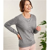 Womens Cashmere and Merino Luxurious Crew Neck Cardigan S Flannel Grey