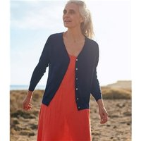 Womens Silk and Cotton Soft Feel V Neck Cardigan M Navy