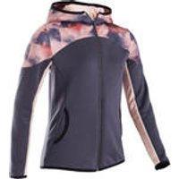 Domyos Warm en ademend synthetisch gymvest voor meisjes S500 zwart met roze AOP kopen