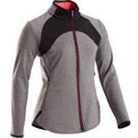 Domyos Warm en ademend gymvest voor meisjes S900 grijs met zwarte inzetstukken kopen