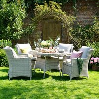 Hampton Rattan 120cm Garden Dining Table with 4 Chairs