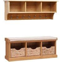 Appleby Oak Basket Bench and Hooks Set
