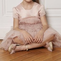 Gold printed tulle dress CHARABIA KID GIRL