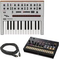 Korg Monologue Synth Silver With Korg Volca Analog Kick MIDI Cable