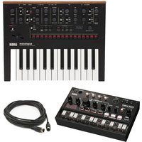 Korg Monologue Synth Black With Korg Volca Analog Kick MIDI Cable