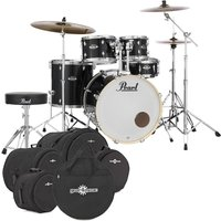 Image of Pearl Export EXX 22 Drum Kit Jet Black w/Bags and Stool