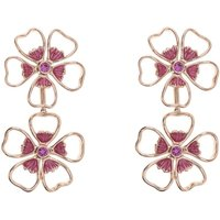 Image of Ladies Ted Baker Rose Gold Plated Lorel Enamel Flower Double Earring