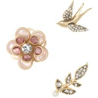 Ladies Lonna And Lilly Rose Gold Plated Earrings and Brooch Set