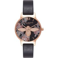 3d Bee Floral Rose Gold & Black Watch