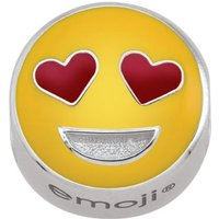 Ladies Persona Sterling Silver Heart Eyes Emoji Bead Charm