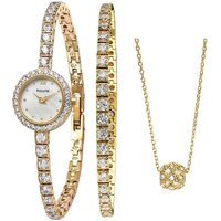 Ladies Accurist Bracelet and Necklace Gift Set Watch