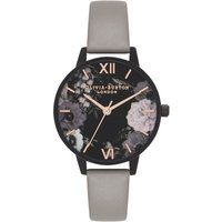 After Dark Marble Floral Grey Ip Black & Rose Gold Watch