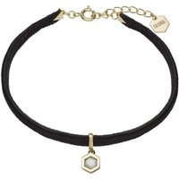 Ladies CLUSE Gold Plated Amourette ​Black​ Velvet ​and Marble Pendant Bracelet