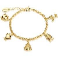 Ladies Disney Couture Gold Plated Beauty and the Beast Characters Charm Bracelet