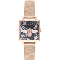 Image of Square Dial 3D Bee Rose Gold Mesh Watch