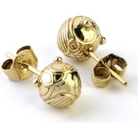 Ladies Harry Potter Sterling Silver Golden Snitch Stud Earrings