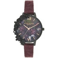 After Dark Case Cuff Demi Dial Watch With Wine Suede Watch